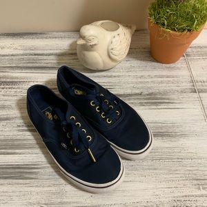 VANS Navy Satin Girls Classic Shoes Sneakers 3